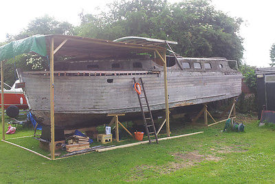 Broom Captain 35 Ft Wooden Boat Restoration Project Very Rare Boat
