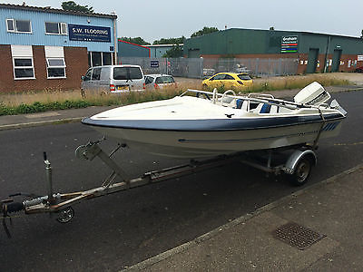 Fletcher 14ft Speed Boat And Trailer Johnson 60hp Outboard