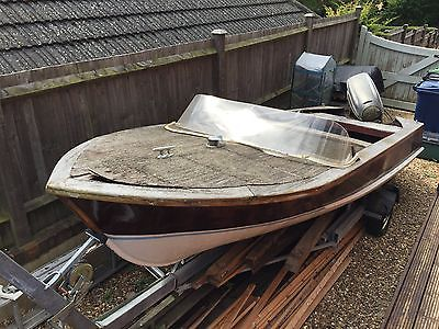 Classic Wooden Boat Project Trailer Eviude Outboard Like Broom