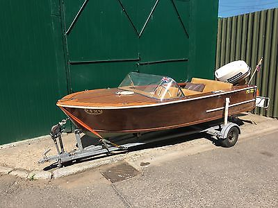 1965 Broom Wooden Speed Boat Launch 33hp Johnson Outboard Serviced In April
